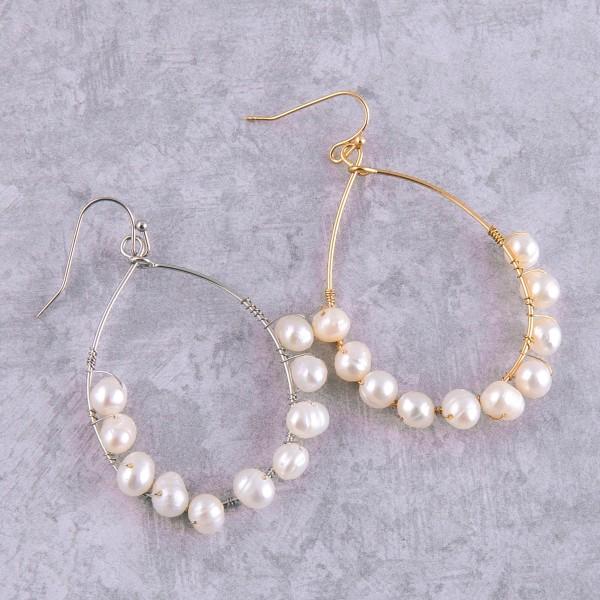 "Wire wrapped freshwater pearl beaded teardrop earrings.  - Approximately 2"" in length"
