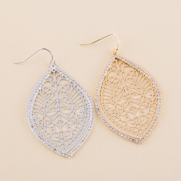 """Rhinestone filigree pointed oval dangle earrings.  - Approximately 2.5"""" L"""