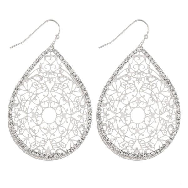 Rhinestone textured filigree teardrop dangle earrings.