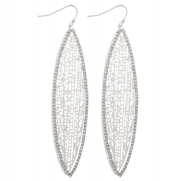"""Rhinestone filigree pointed oval statement dangle earrings.  - Approximately 3.5"""" L"""