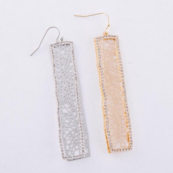 "Rhinestone filigree bar statement dangle earrings.  - Approximately 3.5"" L"