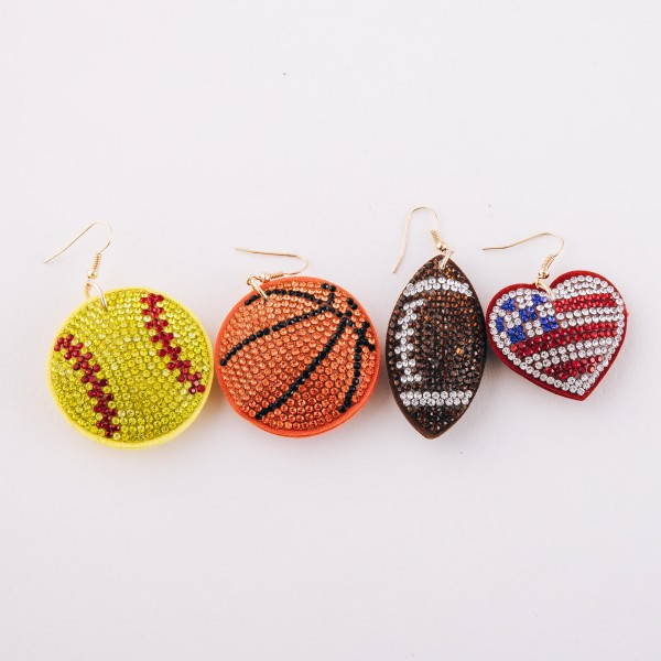 "Rhinestone plush game day softball drop earrings.  - Approximately 2.5"" L - 1.5"" in diameter"