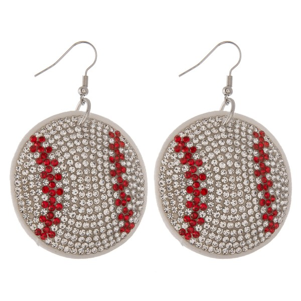 "Rhinestone plush game day baseball drop earrings.  - Approximately 2.5"" L - 1.5"" in diameter"