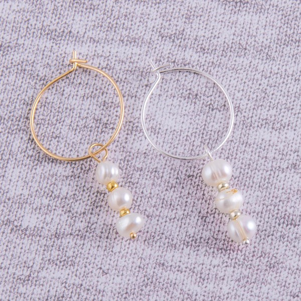 "Freshwater pearl drop hoop earrings.  - Approximately 1.75"" in length and 1"" hoop diameter"