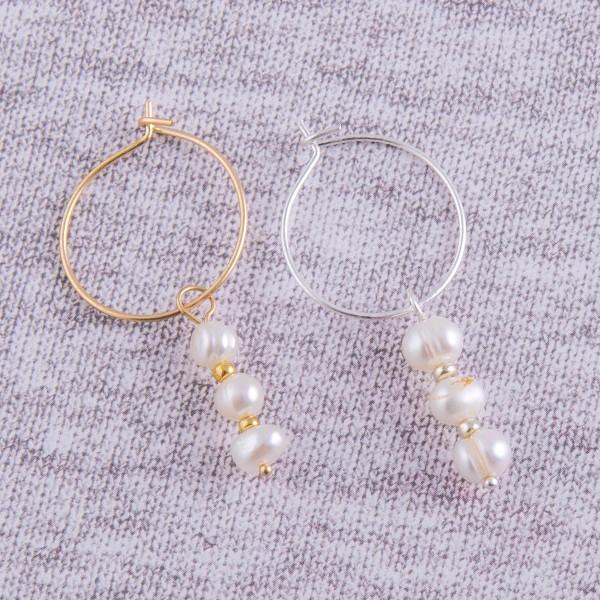 """Freshwater pearl drop hoop earrings.  - Approximately 1.75"""" in length and 1"""" hoop diameter"""