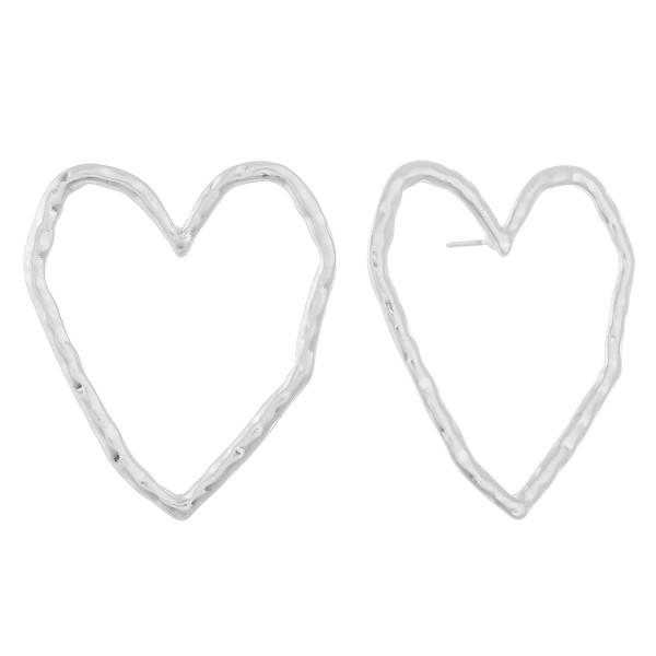 "Oversized hammered heart stud earrings.  - Approximately 1.5"" L"