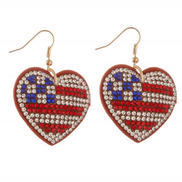 "Rhinestone plush USA heart drop earrings.  - Approximately 1.75"" L"