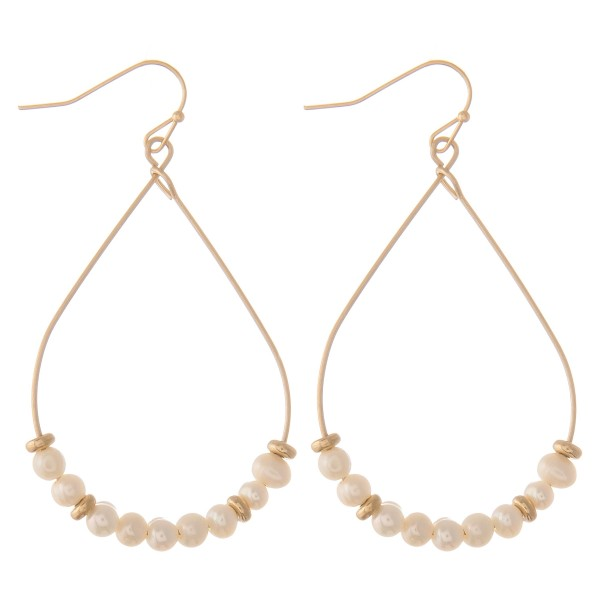 Wholesale gold wire pearl beaded teardrop earrings L