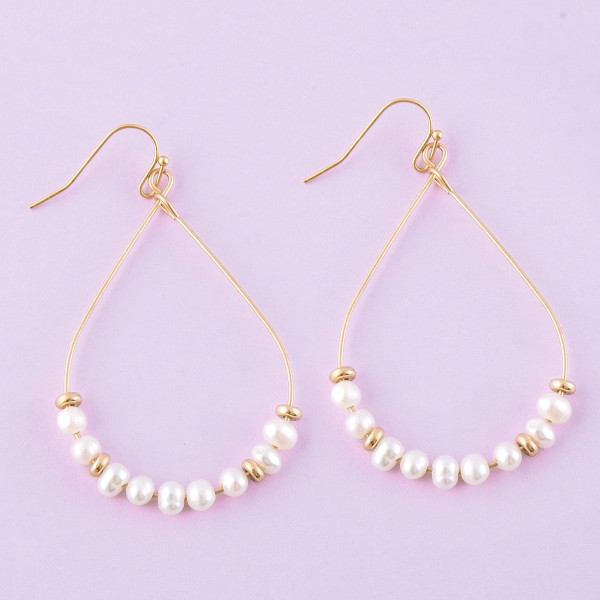 "Gold wire pearl beaded teardrop earrings.  - Approximately 2.5"" L"