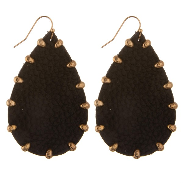 "Faux leather Gold bead trim teardrop earrings.  - Approximately 2.5"" L"