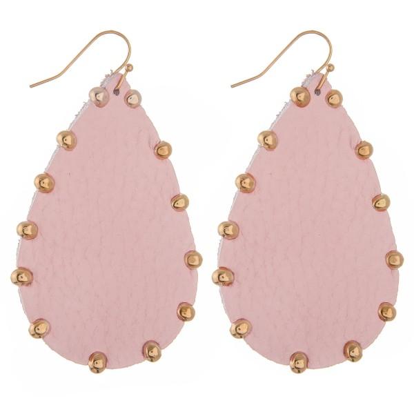 "Faux leather Gold bead trim teardrop earrings.  - Approximately 2.5"" L"