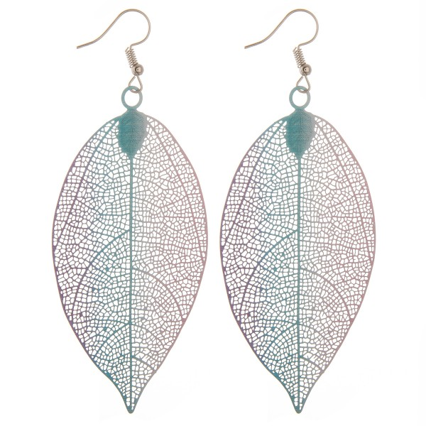 "Ombre filigree leaf statement earrings.  - Approximately 4"" in length"