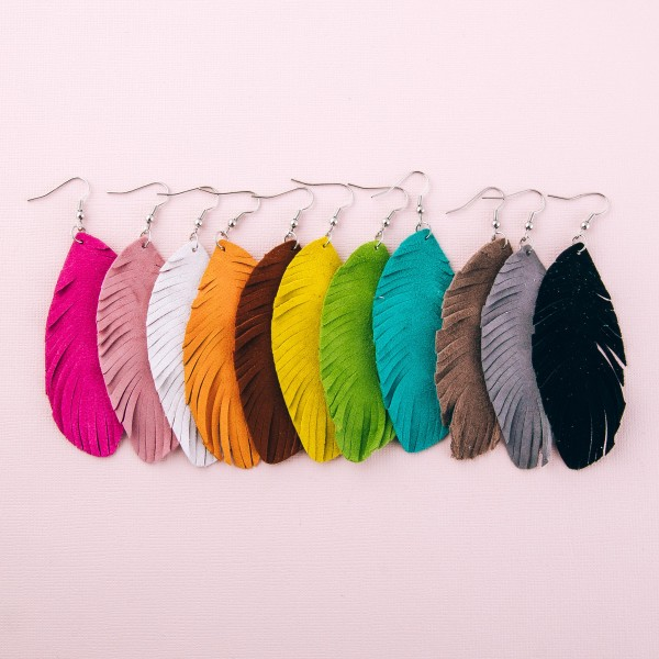 "Narrow Faux Suede Feather Earrings.  - Approximately 4"" L"