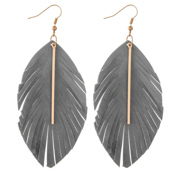 """Faux suede feather cut out bar earrings.  - Approximately 4"""" L"""