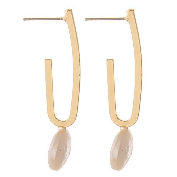 "Faux pearl J hoop earrings.  - Approximately 1.5"" L"