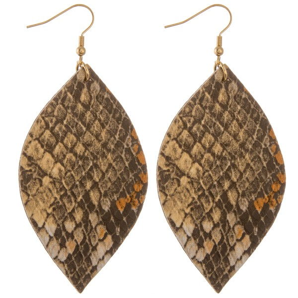 "Faux leather snakeskin pointed oval drop earrings.  - Approximately 3.5"" L"