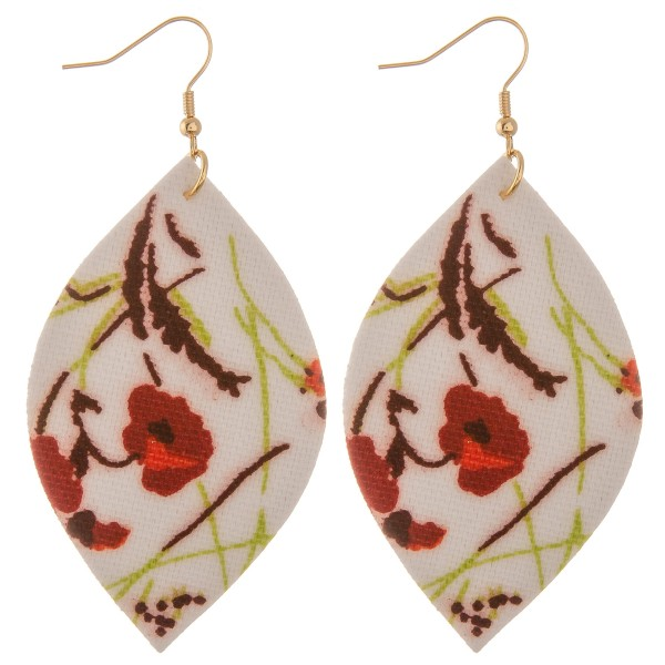"Faux leather spring floral pointed oval drop earrings.  - Approximately 3.5"" L"