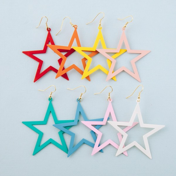 """Coated star cut out drop earrings.  - Approximately 3"""" L - Approximately 2.5"""" W"""