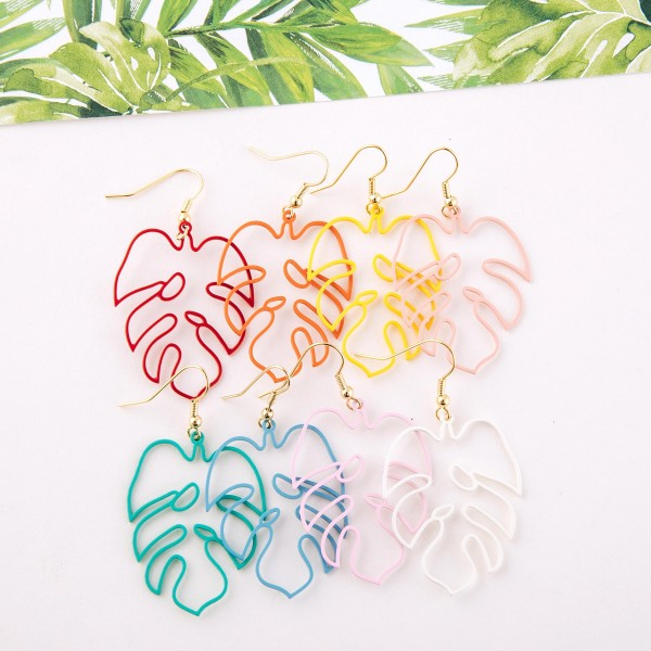 "Enamel coated palm leaf cut out drop earrings.  - Approximately 2"" L"