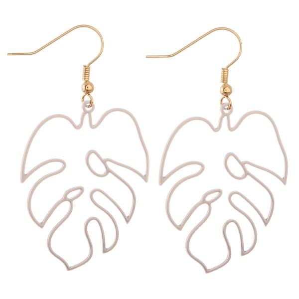 Wholesale enamel palm leaf cut out drop earrings L