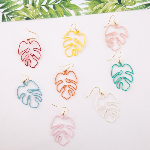 "Enamel coated palm leaf cut out drop earrings.  - Approximately 2"" L"