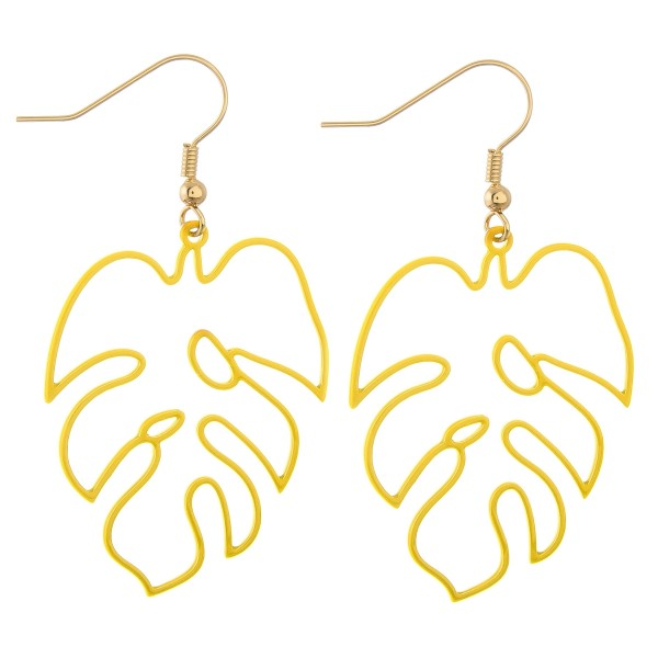 Wholesale enamel palm leaf cut out drop earrings L
