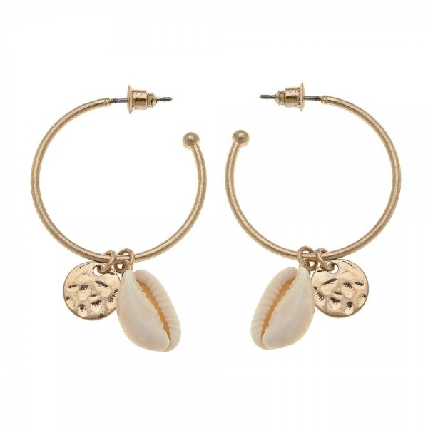 """Worn Gold Puka Shell Drop Open Hoop Earrings.  - Hoop approximately 1.25"""" in diameter - Approximately 2"""" L overall"""
