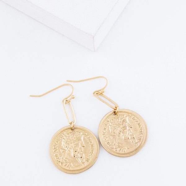 "Coin Link Drip Earrings.  - Approximately 1.5"" L"