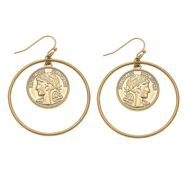 "Coin Nested Drop Earrings in Gold.  - Approximately 2"" L - 1.5"" in diameter"
