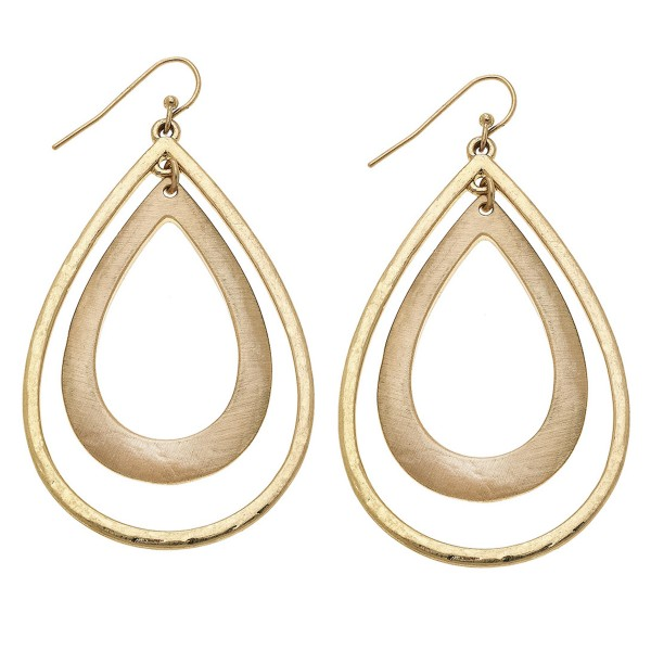 "Satin Gold Slightly Hammered Nested Teardrop Earrings.  - Approximately 2.5"" L"