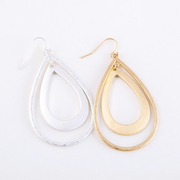 "Satin Silver Slightly Hammered Nested Teardrop Earrings.  - Approximately 2.5"" L"