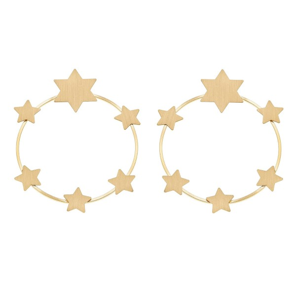 "Metal Star Wreath Statement Earrings.  - Stud Post - Approximately 3"" in diameter"