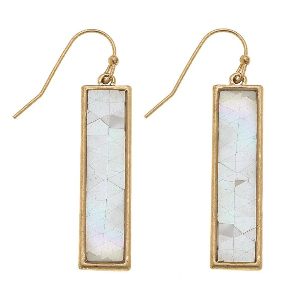 "Gold Mother of Pearl Shell coated bar drop earrings.  - Approximately 1.5"" L"