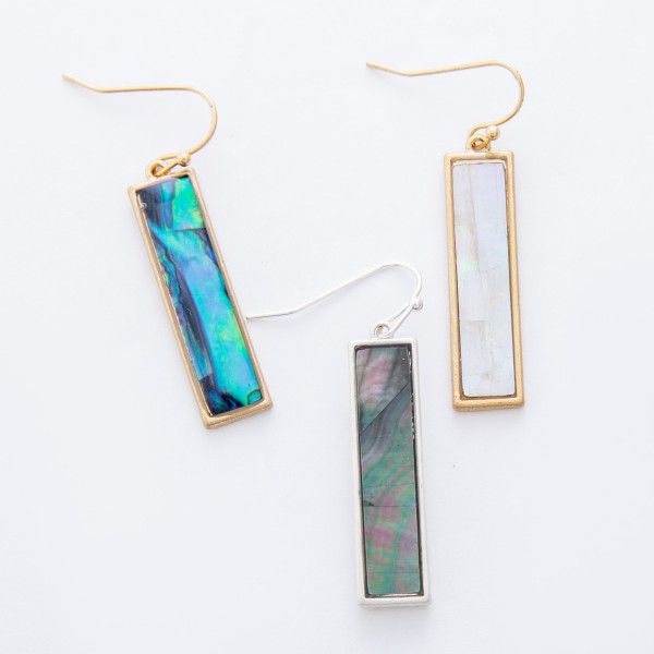 "Gold Abalone Shell coated bar drop earrings.  - Approximately 1.5"" L"