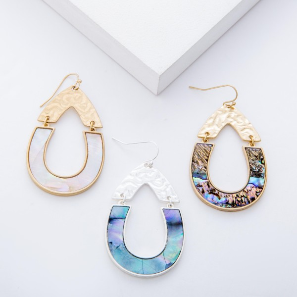 """Gold Abalone Shell coated hinge teardrop earrings.  - Approximately 2.25"""" L"""
