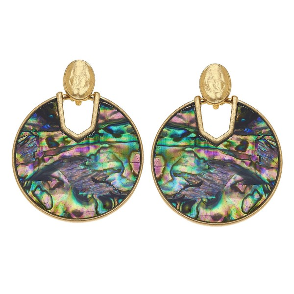 """Gold Abalone Shell coated hinge drop earrings.  - Approximately 1.5"""" in diameter"""
