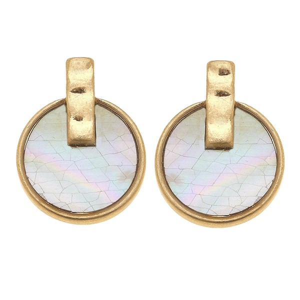 """Gold Mother of Pearl Shell coated stud earrings.  - Approximately .5"""" in diameter"""