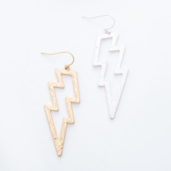"Worn Gold Hammered Lightning Bolt Drop Earrings.  - Approximately 3"" L"