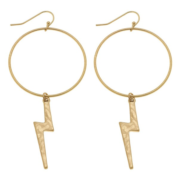 """Worn Gold Hammered Lightning Bolt Drop Earrings.  - Hoop approximately 1.5"""" in diameter - Approximately 3"""" L overall"""