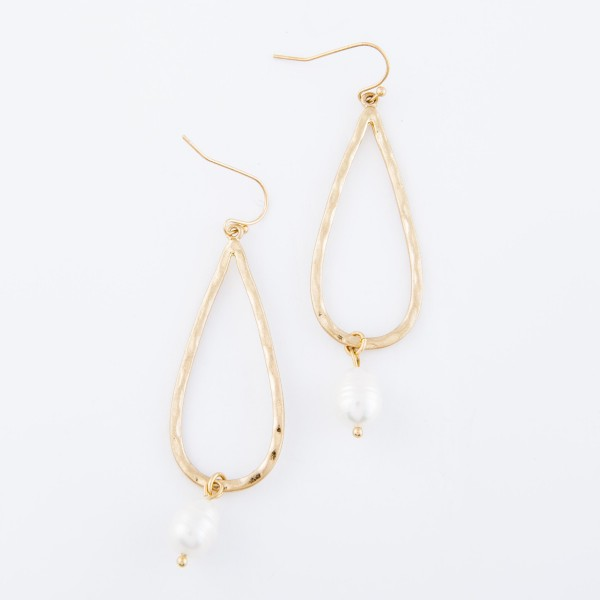 "Ivory Pearl Teardrop Earrings In Worn Gold.  - Approximately 2.5"" L"