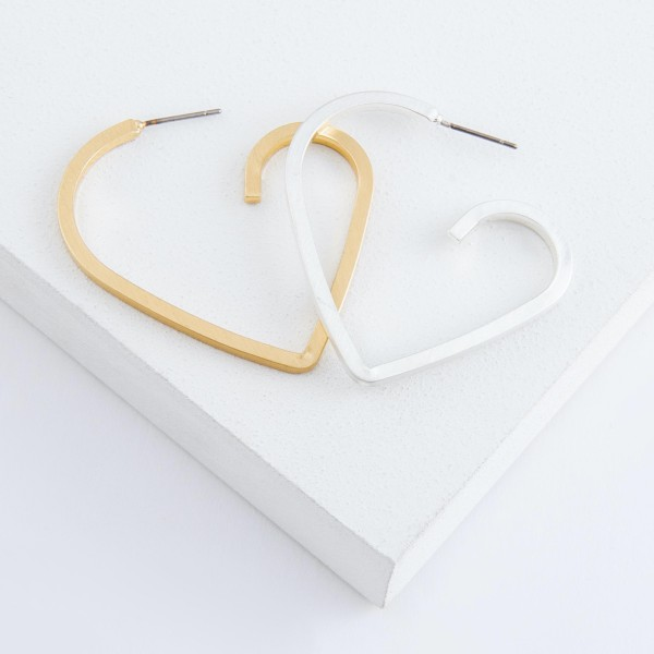 Squared off heart hoop earrings.  - Approximately 1.75""