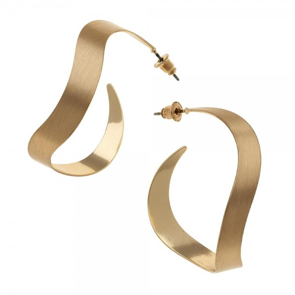 "Satin Gold Wavy Hoop Earrings.  - Approximately 1.75"" in diameter"