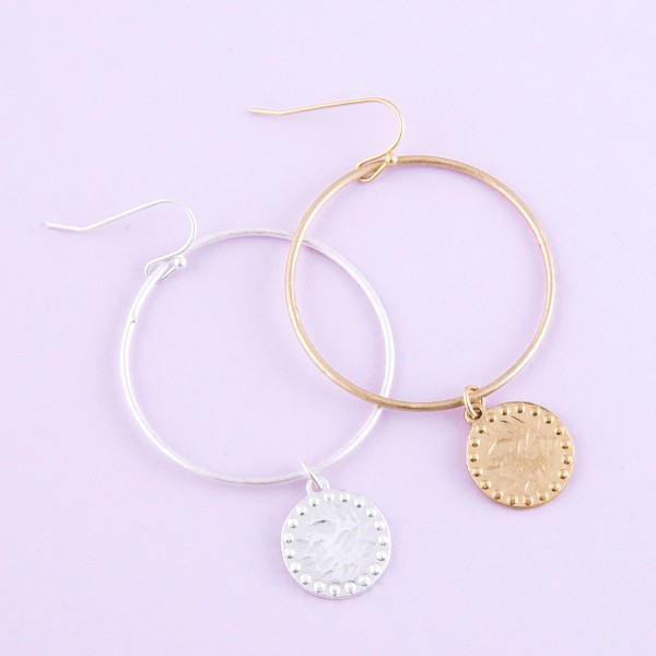 """Hammered disc drop earrings.  - Approximately 2.5"""" L"""