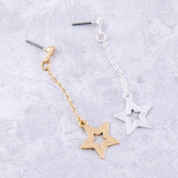 "Hammered chain star drop earrings.  - Approximately 2.25"" L"