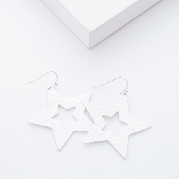 "Worn Silver Hammered Star Drop Earrings.  - Approximately 2"" L"