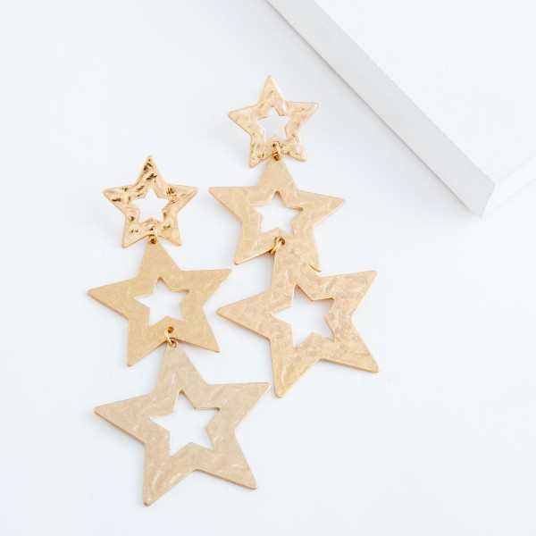 "Worn Gold Hammered Star Statement Drop Earrings.  - Approximately 3.5"" L"