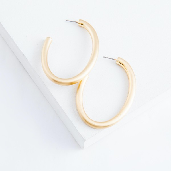 "Satin Gold Open Oval Hoop Earrings.  - Approximately 2"" L"