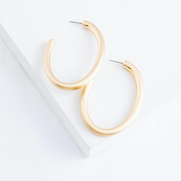 "Satin Gold Open Oval Hoop Earrings.  - Approximately 2"" L"