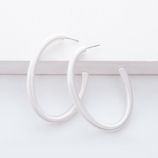 """Satin Silver Open Oval Hoop Earrings.  - Approximately 2"""" L"""