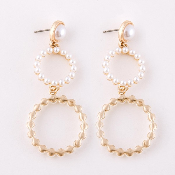 "Pearl beaded circle drop earrings.  - Approximately 2.75"" L"